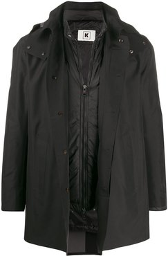 hooded rain coat - Black