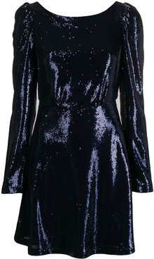 sequin-embellished mini dress - Blue