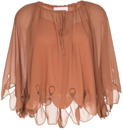 scalloped tie-neck blouse - Brown