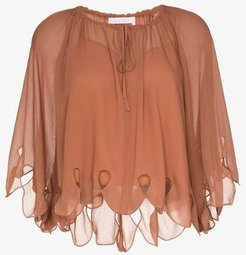scalloped tie-neck blouse