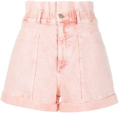distressed high-rise denim shorts - PINK