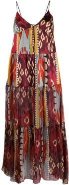 geometric print silk dress - ORANGE