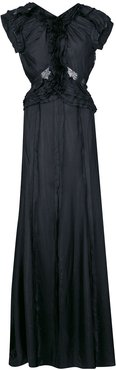lace-panelled gown - Black