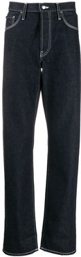 face-patch straight-leg jeans - Blue