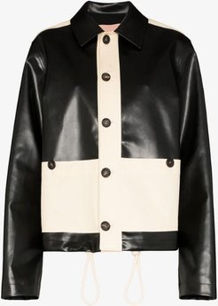 two tone faux leather jacket