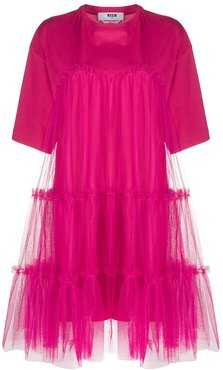 gathered-tulle T-shirt dress - PINK