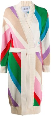 colour-block tie-waist cardigan - NEUTRALS