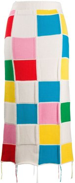 patchwork-knit pencil skirt - White