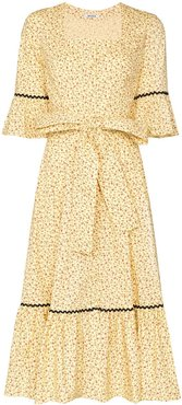 Delsy floral print belted dress - Yellow