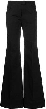 mid-rise flared trousers - Black