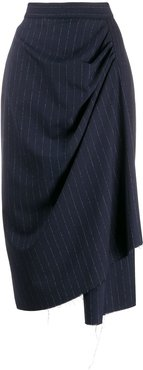 asymmetric pinstriped pencil skirt - Blue