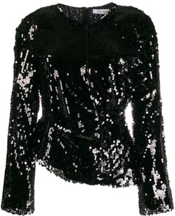 sequin embellished blouse - Black
