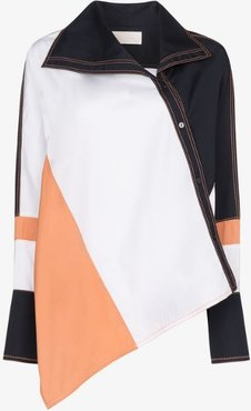 colour block asymmetric shirt