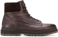 textured lace up ankle boots - Brown