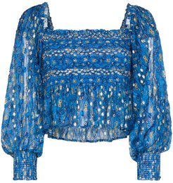 Eloise graphic print ruched top - Blue