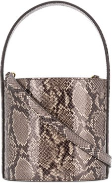 snakeskin-effect bucket bag - Grey