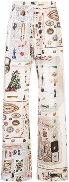 Objects print palazzo trousers - White