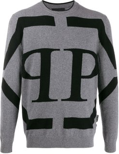 two tone knitted jumper - Grey