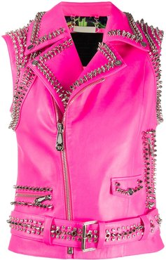 studded fitted vest - PINK