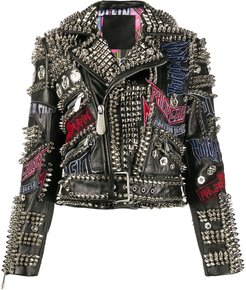 leather spiked biker jacket - Black
