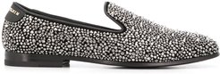 rhinestone studded loafers - SILVER