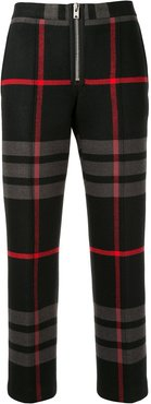cropped plaid print trousers - Black