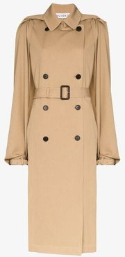 open arms belted wool trench coat