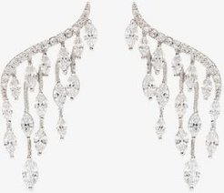 silver tone crystal marquise earrings