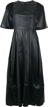 CAPE DRESS W SIDE SNAP - Black