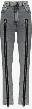 high-waisted zip detail skinny jeans