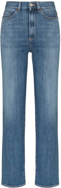 Super high-waisted straight-leg jeans - Blue