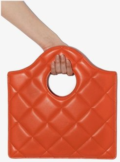 orange quilted leather clutch bag