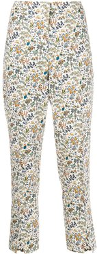 Maisie Liddell-print cropped trousers - White