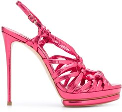 strappy ring stiletto sandals - PINK