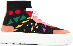 knitted high-top trainers - Black