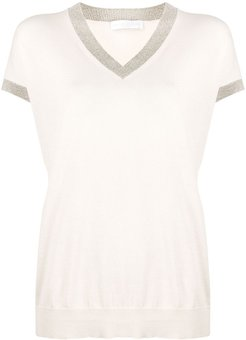 contrast trimmed knitted top - PINK