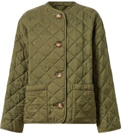 logo print quilted jacket - Green