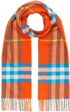 cashmere Classic Check scarf - ORANGE