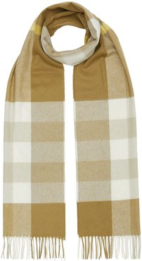 check fringed cashmere scarf - Green