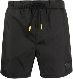 rubber logo swim shorts - Black