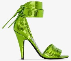green 105 ankle wrap sandals