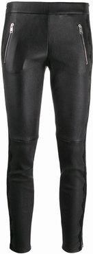 lace-trim skinny leather trousers - Black