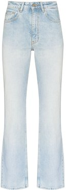 washed straight leg jeans - Blue