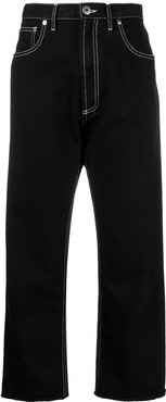 contrast stitching cropped jeans - Black