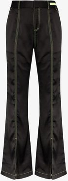 Flared contrast stitch trousers
