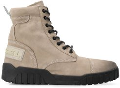 lace-up cargo boots - Neutrals