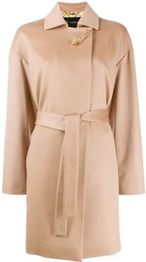 cashmere single-breasted coat - NEUTRALS