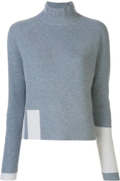 cashmere ribbed funnel neck jumper - Blue