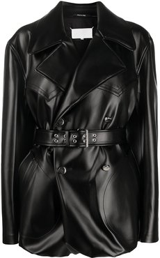belted faux leather jacket - Black