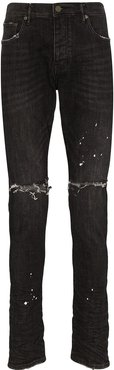 distressed ripped knee jeans - Black